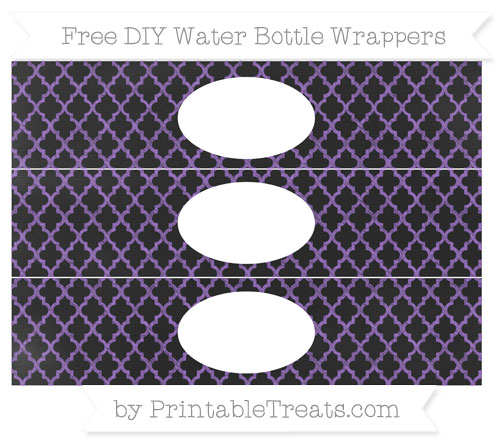 Free Amethyst Moroccan Tile Chalk Style DIY Water Bottle Wrappers