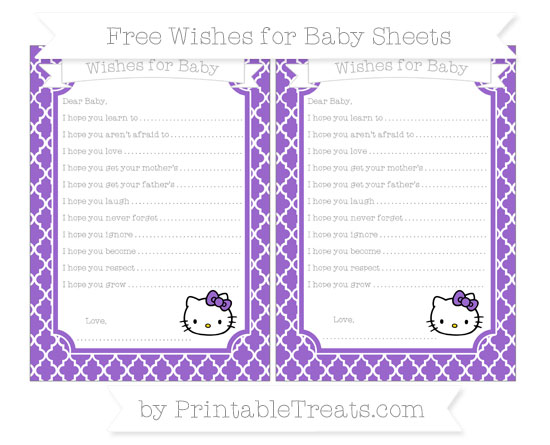 Free Amethyst Moroccan Tile Hello Kitty Wishes for Baby Sheets