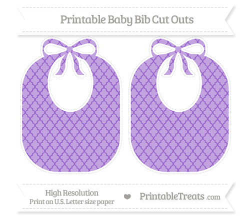 Free Amethyst Moroccan Tile Large Baby Bib Cut Outs