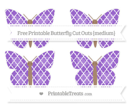 Free Amethyst Moroccan Tile Medium Butterfly Cut Outs