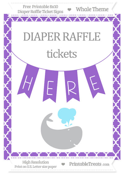 Free Amethyst Moroccan Tile Whale 8x10 Diaper Raffle Ticket Sign