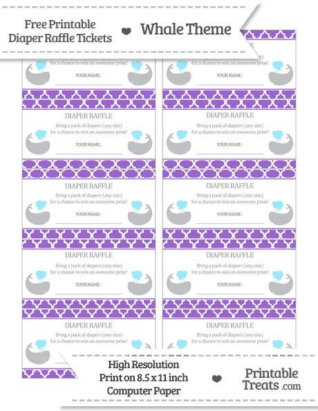 Free Amethyst Moroccan Tile Whale Diaper Raffle Tickets