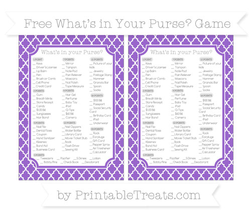 Free Amethyst Moroccan Tile What's in Your Purse Baby Shower Game