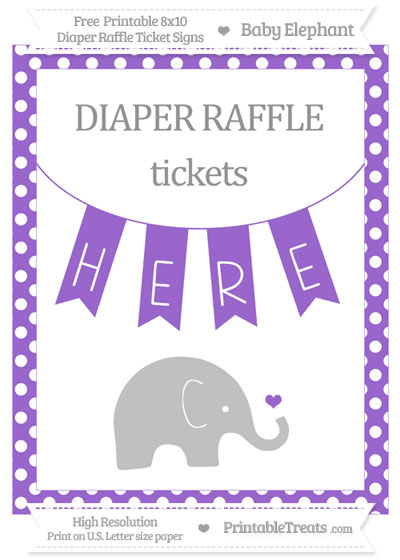 Free Amethyst Polka Dot Baby Elephant 8x10 Diaper Raffle Ticket Sign