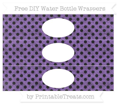 Free Amethyst Polka Dot Chalk Style DIY Water Bottle Wrappers