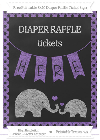 Free Amethyst Polka Dot Chalk Style Elephant 8x10 Diaper Raffle Ticket Sign