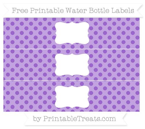 Free Amethyst Polka Dot Water Bottle Labels