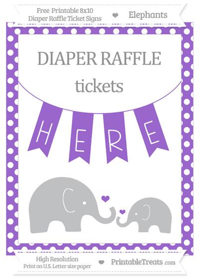 Free Amethyst Polka Dot Elephant 8x10 Diaper Raffle Ticket Sign