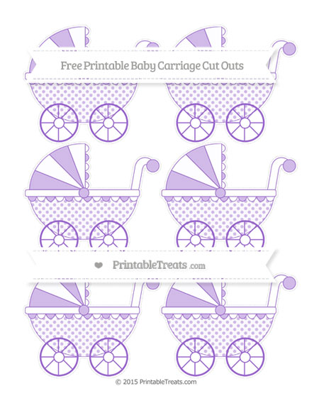 Free Amethyst Polka Dot Small Baby Carriage Cut Outs