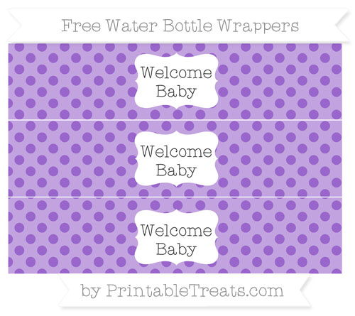 Free Amethyst Polka Dot Welcome Baby Water Bottle Wrappers