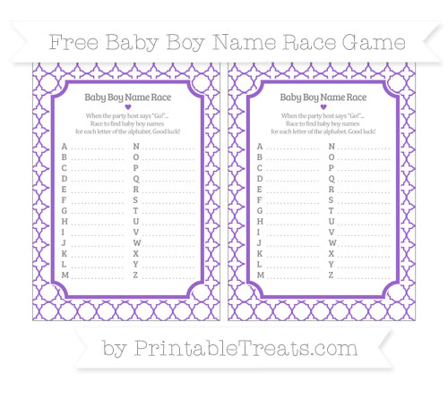 Free Amethyst Quatrefoil Pattern Baby Boy Name Race Game