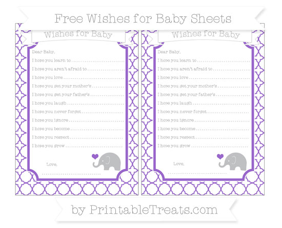 Free Amethyst Quatrefoil Pattern Baby Elephant Wishes for Baby Sheets