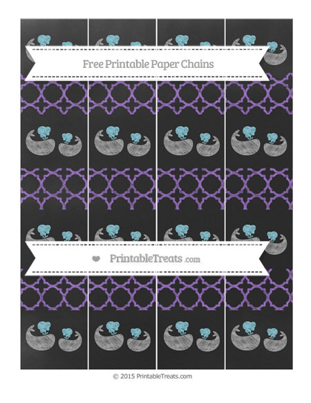 Free Amethyst Quatrefoil Pattern Chalk Style Baby Whale Paper Chains