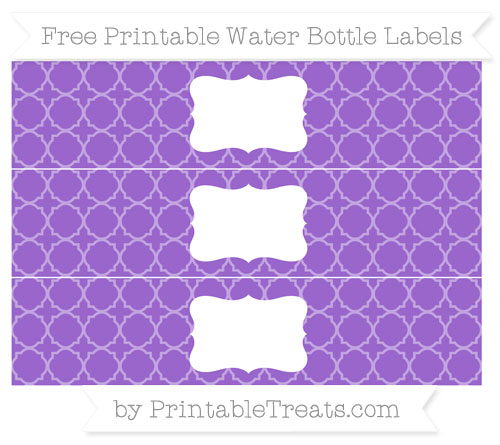 Free Amethyst Quatrefoil Pattern Water Bottle Labels