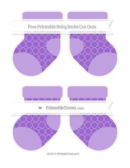 Free Amethyst Quatrefoil Pattern Medium Baby Socks Cut Outs