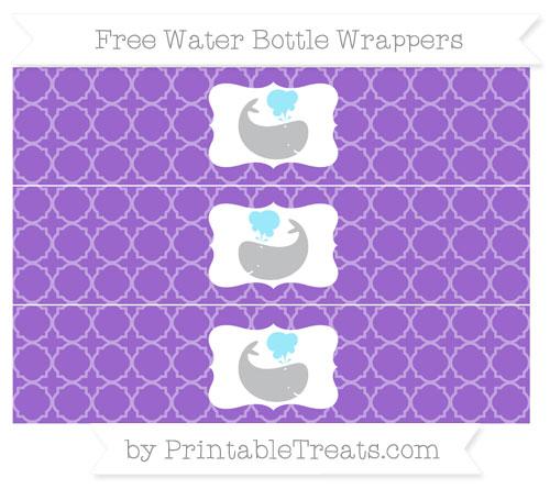 Free Amethyst Quatrefoil Pattern Whale Water Bottle Wrappers