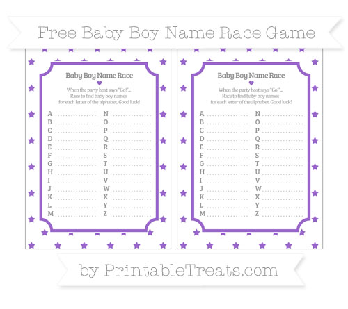 Free Amethyst Star Pattern Baby Boy Name Race Game