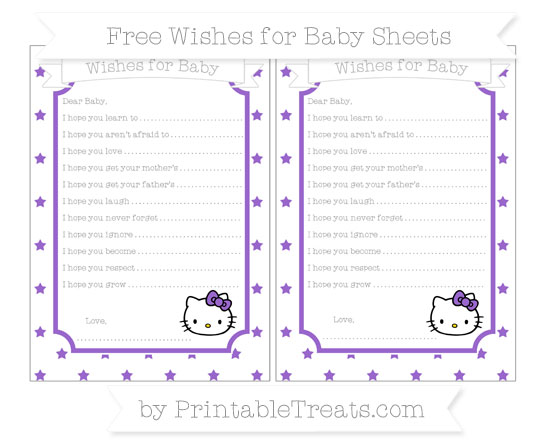 Free Amethyst Star Pattern Hello Kitty Wishes for Baby Sheets