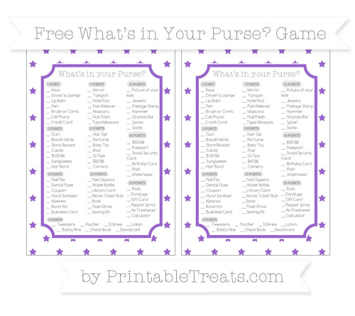 Free Amethyst Star Pattern What's in Your Purse Baby Shower Game