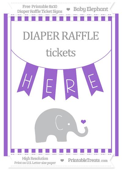 Free Amethyst Striped Baby Elephant 8x10 Diaper Raffle Ticket Sign