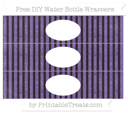 Free Amethyst Striped Chalk Style DIY Water Bottle Wrappers