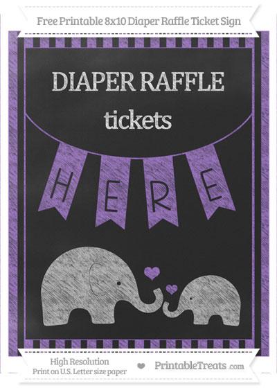 Free Amethyst Striped Chalk Style Elephant 8x10 Diaper Raffle Ticket Sign