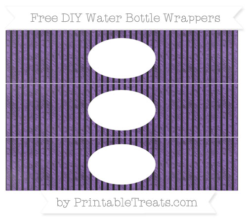 Free Amethyst Thin Striped Pattern Chalk Style DIY Water Bottle Wrappers