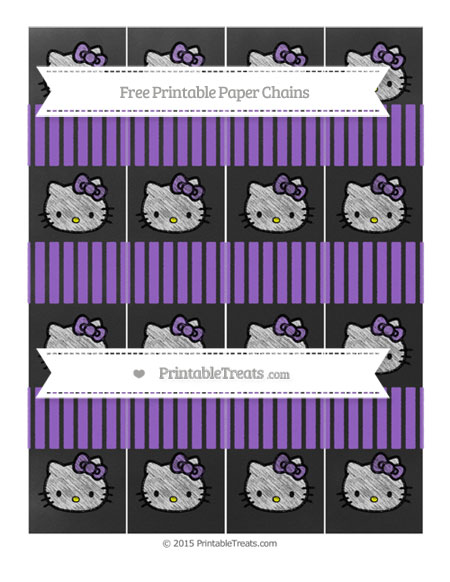 Free Amethyst Thin Striped Pattern Chalk Style Hello Kitty Paper Chains