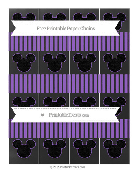 Free Amethyst Thin Striped Pattern Chalk Style Mickey Mouse Paper Chains