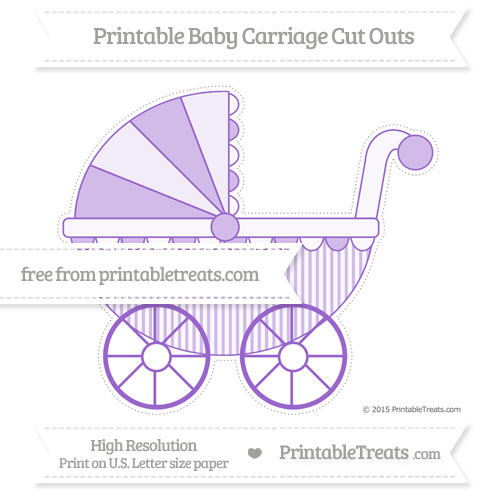 Free Amethyst Thin Striped Pattern Extra Large Baby Carriage Cut Outs