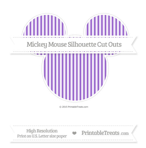 Free Amethyst Thin Striped Pattern Extra Large Mickey Mouse Silhouette Cut Outs