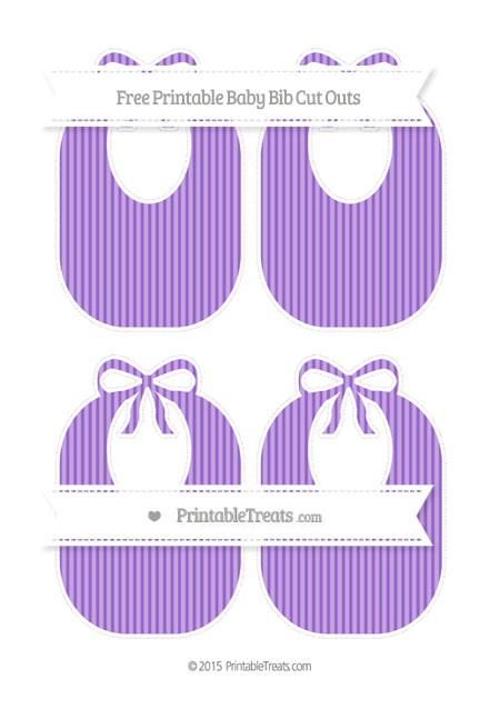 Free Amethyst Thin Striped Pattern Medium Baby Bib Cut Outs