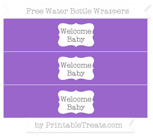 Free Amethyst Welcome Baby Water Bottle Wrappers