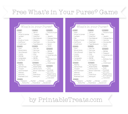Free Amethyst What's in Your Purse Baby Shower Game