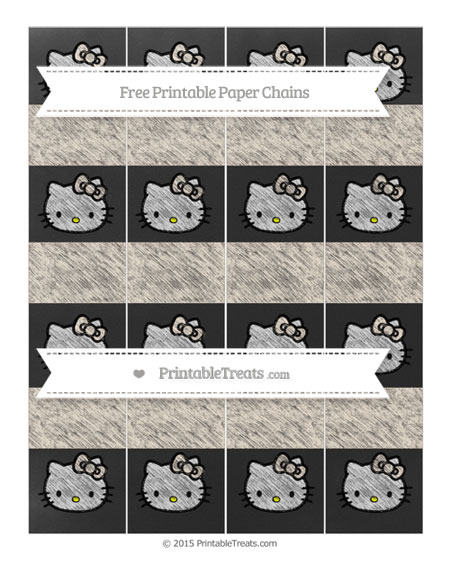 Free Antique White Chalk Style Hello Kitty Paper Chains