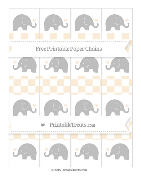 Free Antique White Checker Pattern Baby Elephant Paper Chains