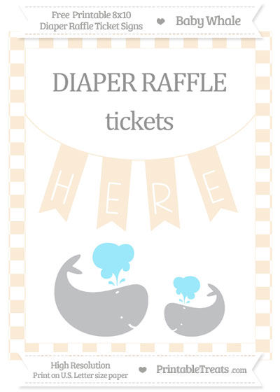 Free Antique White Checker Pattern Baby Whale 8x10 Diaper Raffle Ticket Sign