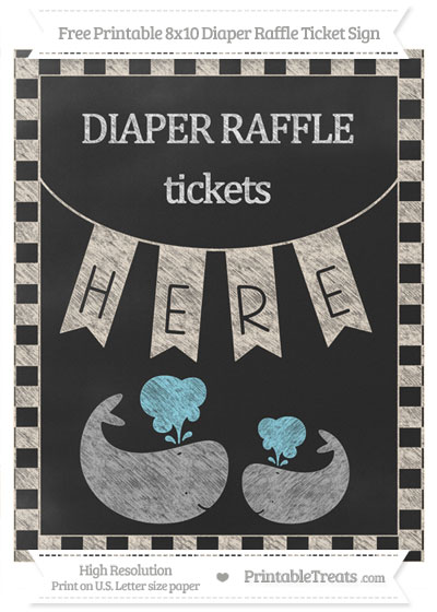 Free Antique White Checker Pattern Chalk Style Baby Whale 8x10 Diaper Raffle Ticket Sign
