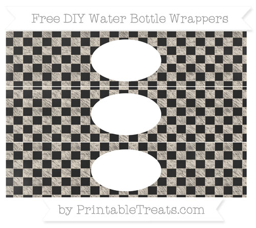 Free Antique White Checker Pattern Chalk Style DIY Water Bottle Wrappers