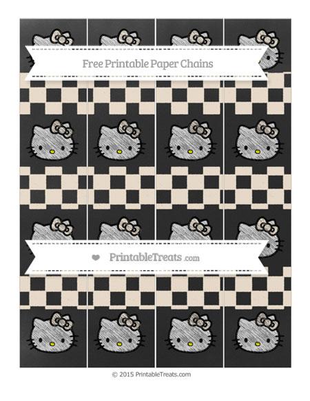 Free Antique White Checker Pattern Chalk Style Hello Kitty Paper Chains