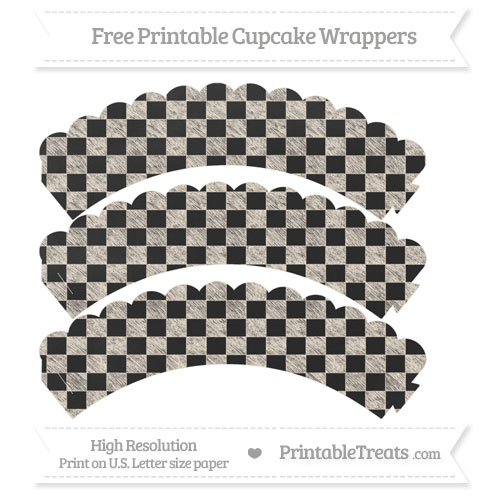 Free Antique White Checker Pattern Chalk Style Scalloped Cupcake Wrappers