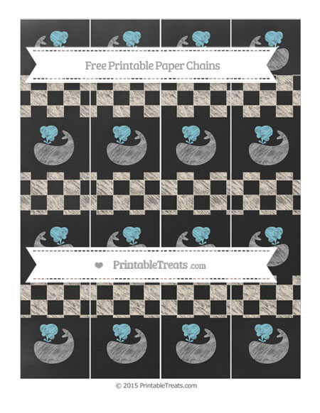 Free Antique White Checker Pattern Chalk Style Whale Paper Chains