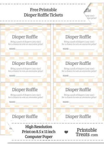 Free Antique White Checker Pattern Diaper Raffle Tickets