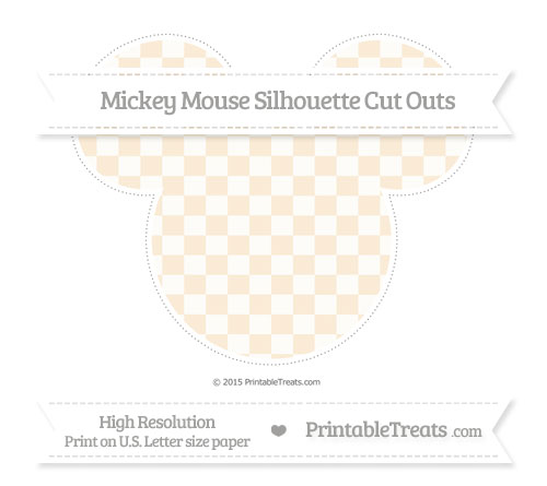 Free Antique White Checker Pattern Extra Large Mickey Mouse Silhouette Cut Outs