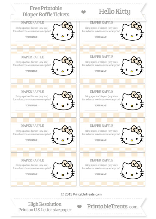 Free Antique White Checker Pattern Hello Kitty Diaper Raffle Tickets