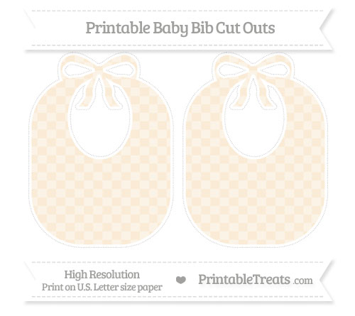 Free Antique White Checker Pattern Large Baby Bib Cut Outs