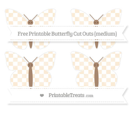 Free Antique White Checker Pattern Medium Butterfly Cut Outs