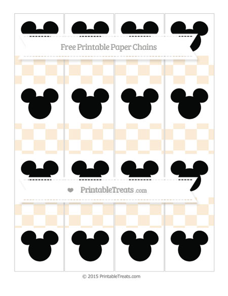 Free Antique White Checker Pattern Mickey Mouse Paper Chains