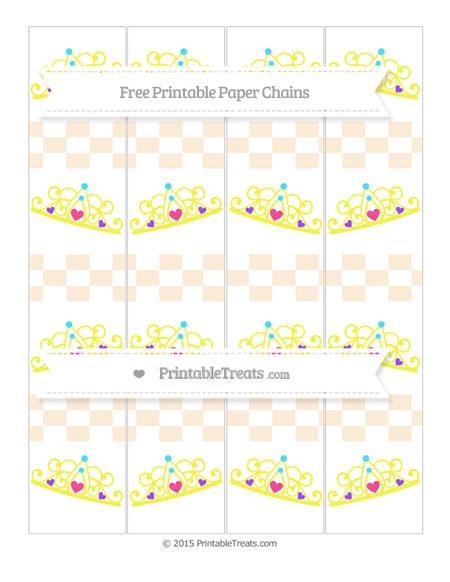 Free Antique White Checker Pattern Princess Tiara Paper Chains
