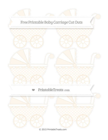 Free Antique White Checker Pattern Small Baby Carriage Cut Outs